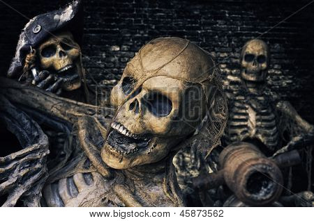 Three Skeleton Pirates Portrait poster