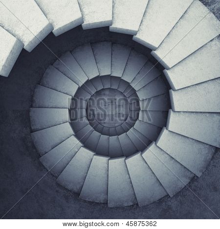 Design spiral staircase made of concrete. 3D illustration