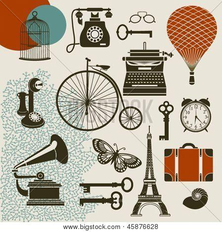 Ephemera - Set of design elements and vintage symbols of the old era, including typewriter, old telephones, gramophone with tube, keys and suitcase