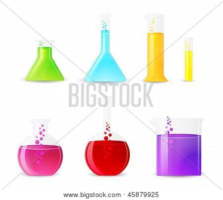 Chemical Glasswarewith Colorful Fluids