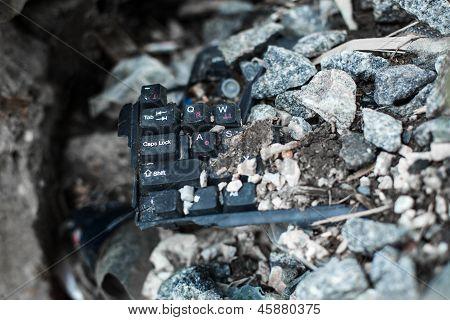 Broken Black Keyboard On The Trash