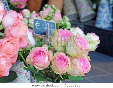 Roses on flower market