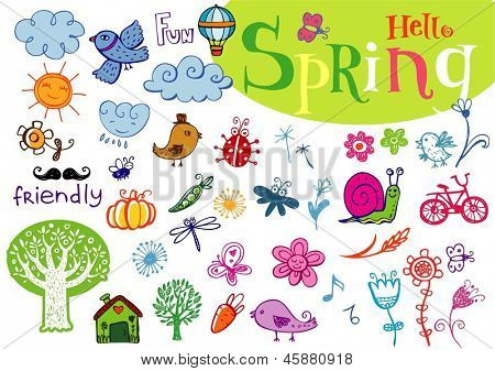 Hello Spring! Set of vector labels in doodle hand-drawn style