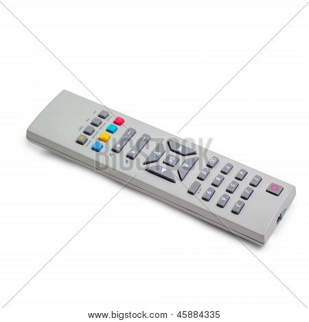 tv silver remote control isolated white background