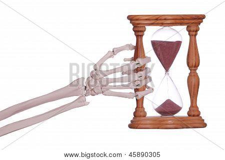 Skeleton Hand Holding Sand Timer