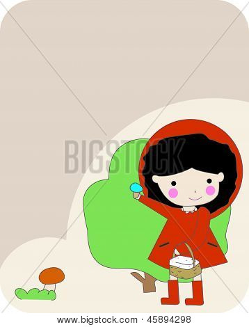 Girl in Red Cape Holding a Mushroom