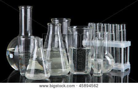 Test tubes on black background