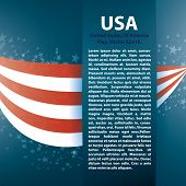 Patriotic wave background with stripes, stars and Text place, Zip includes 300 dpi JPG, Illustrator CS, EPS10. Vector with transparency. poster