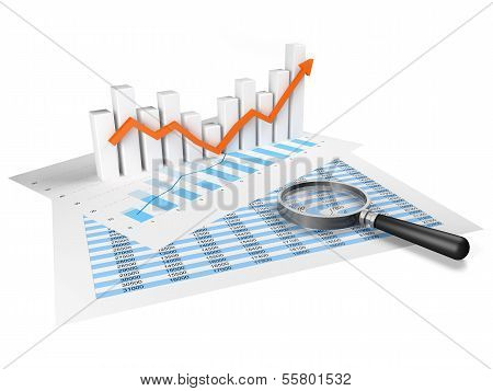 Business Graph With Orange Arrow