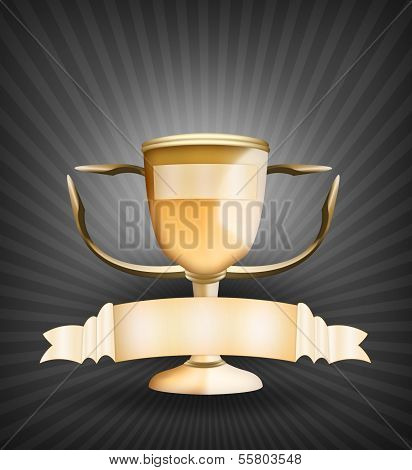 Golden trophy cup and banners set