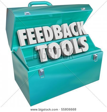 Feedback Tools Words Blue Metal Toolbox
