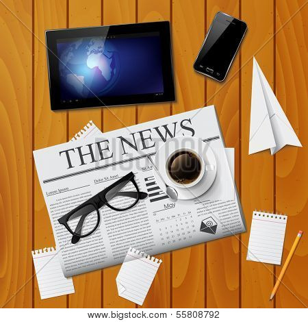 Cup of coffee, newspaper, tablet, smartphone and glasses on wooden table. Detailed vector illustration. Business concept