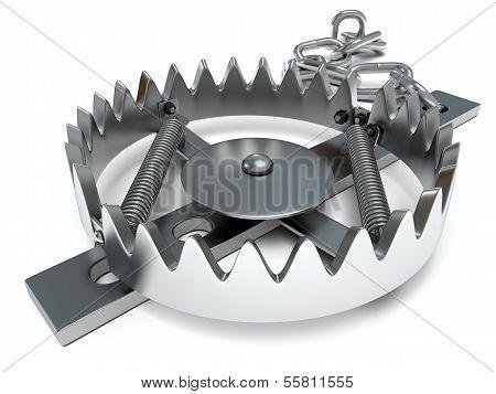 Metal animal trap open.