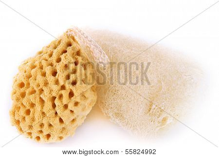 Two washcloths isolated on white