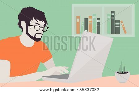 Handsome Man With Laptop Illustration