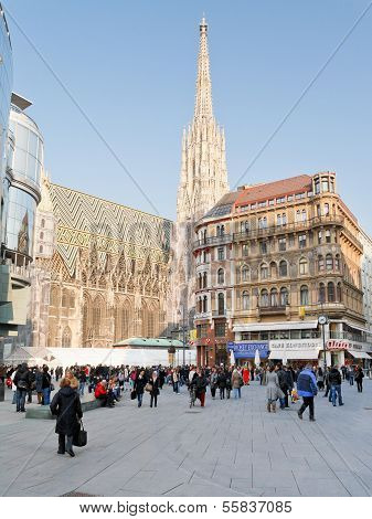 Side View Of Stephansdom In Vienna