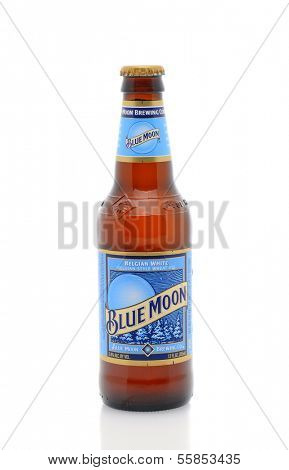 IRVINE, CA - January 11, 2013: A 12oz. bottle of Blue Moon Belgian White Ale. Blue Moon Brewing Co. is a part of Tenth and Blake Beer Company, the craft / import division of Chicago-based MillerCoors.