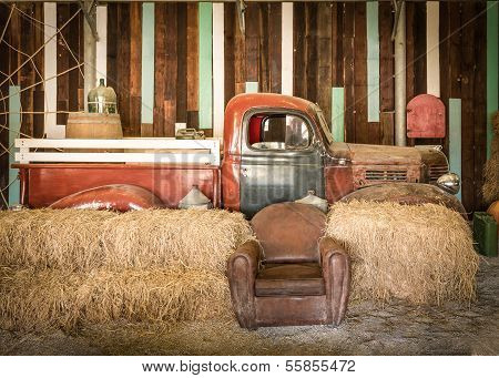 Brown Sofa And Red Pickup Inside The Room