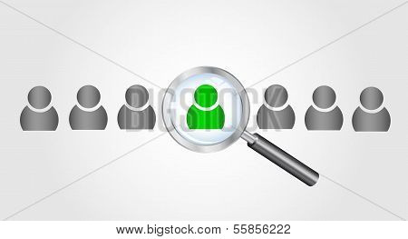Magnifying glass searching people. Job search concept