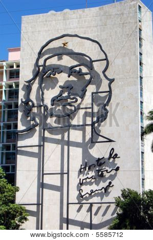 Oposite to the memorial of Jose Marti at the Revolution Square in Havana, Cuba is the famous Che Guevara image with the slogan 'Hasta la Victoria Siempre' (Forever Onwards Towards Victory) that identifies the Ministry of the Interior building. poster