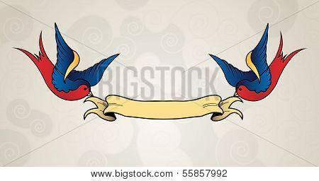Tattoo style swallows with banner, old school
