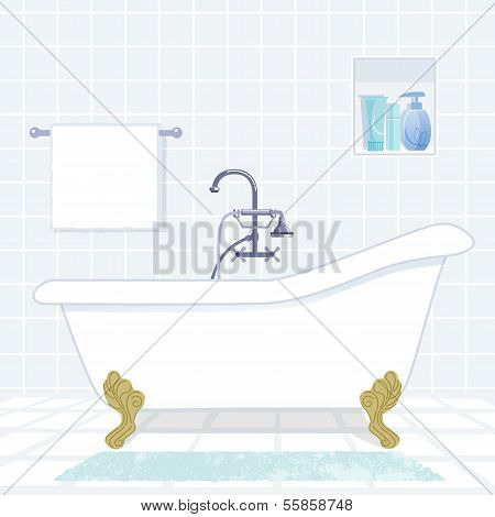 Bathroom With Vintage Style Bathtub