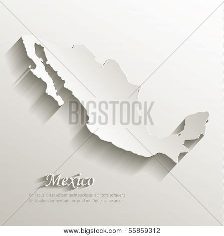 Mexico map card paper 3D natural vector