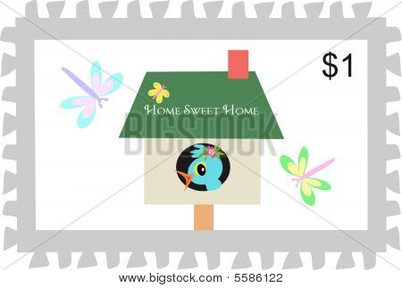 Postage Stamp of Home Sweet Home Birdhouse
