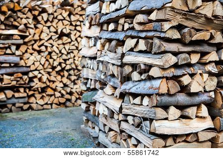 Chopped firewood stack.