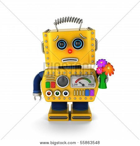 Cute vintage toy robot with a small bouquet asking for forgiveness poster