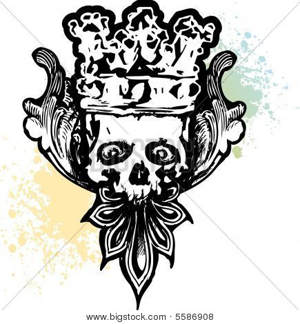 Crowned Wicked Skull Illustration