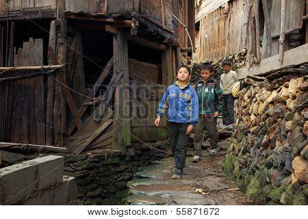 Asian Rural, Peasant, Farmer, Kids Teens Walk Around Chinese Village.