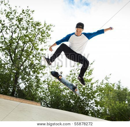 Skateboarder In The Skatepark