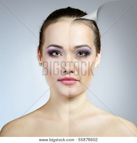 Anti-aging concept. Portrait of beautiful woman with problem and clean skin. Aging and youth concept, beauty treatment. poster