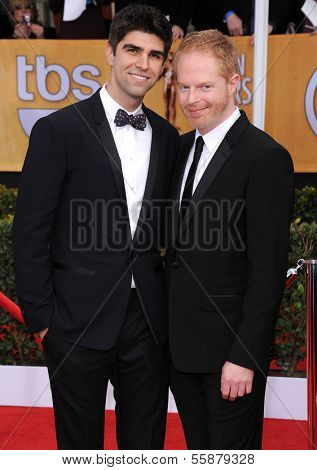 LOS ANGELES - JAN 27:  Jesse Tyler Ferguson & Justin Mikita arrives to the SAG Awards 2013  on January 27, 2013 in Los Angeles, CA