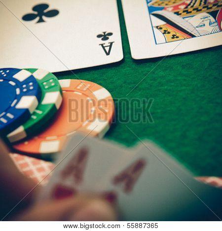 Texas Holdem Pocket Aces On Casino Table