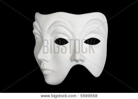 Double Face White Mask Isolated Over Black