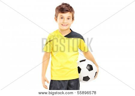 Kid in sportswear holding a soccer ball isolated on white background