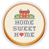 Embroidery, Home Sweet Home with a big red heart, decorative cross stitch needlework sewing design on fabric in retro wood hoop, house in landscape graphic, isolated on white background. poster