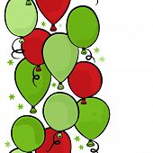 flying colorful green and red balloons party time seamless vertical border on white background poster
