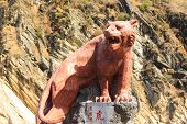 Tiger Sculpture at Tiger Leaping Gorge, China poster