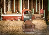 background interior design of an old country house decorating brown sofa and red pickup inside the room poster