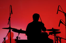 Black On Red- Man Playing Drums