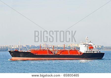 LPG (liquid petroleum gas) tanker at sea
