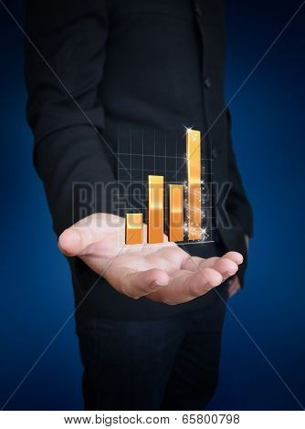 Man Hand Holding Growth Graph