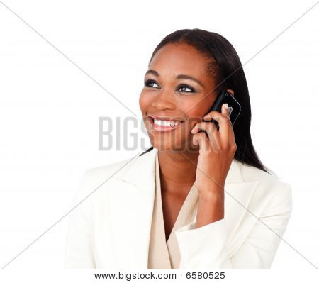 Radiant Afro-american Businesswoman On Phone