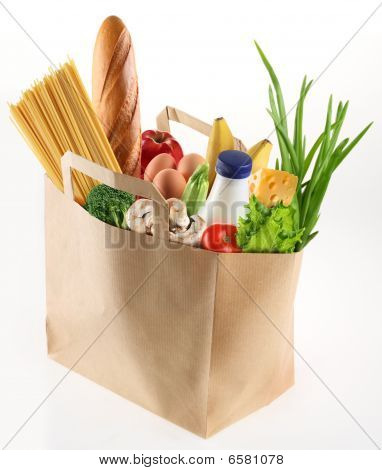 Bag full of different food