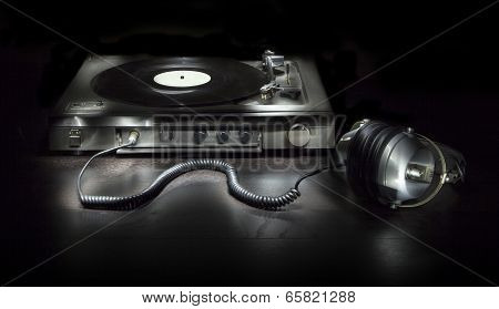 Old Turntable With Headphones