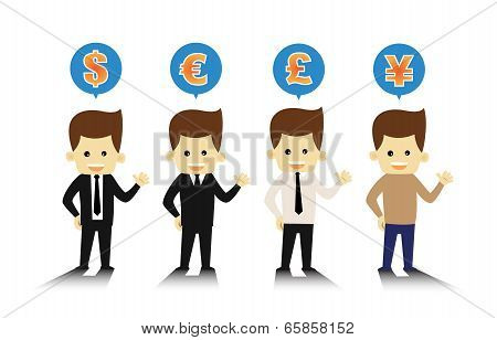 4 Styles business man and currency symbols eps10 vector.