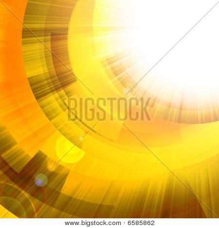 Gold Circles With Bright Rays Of Light